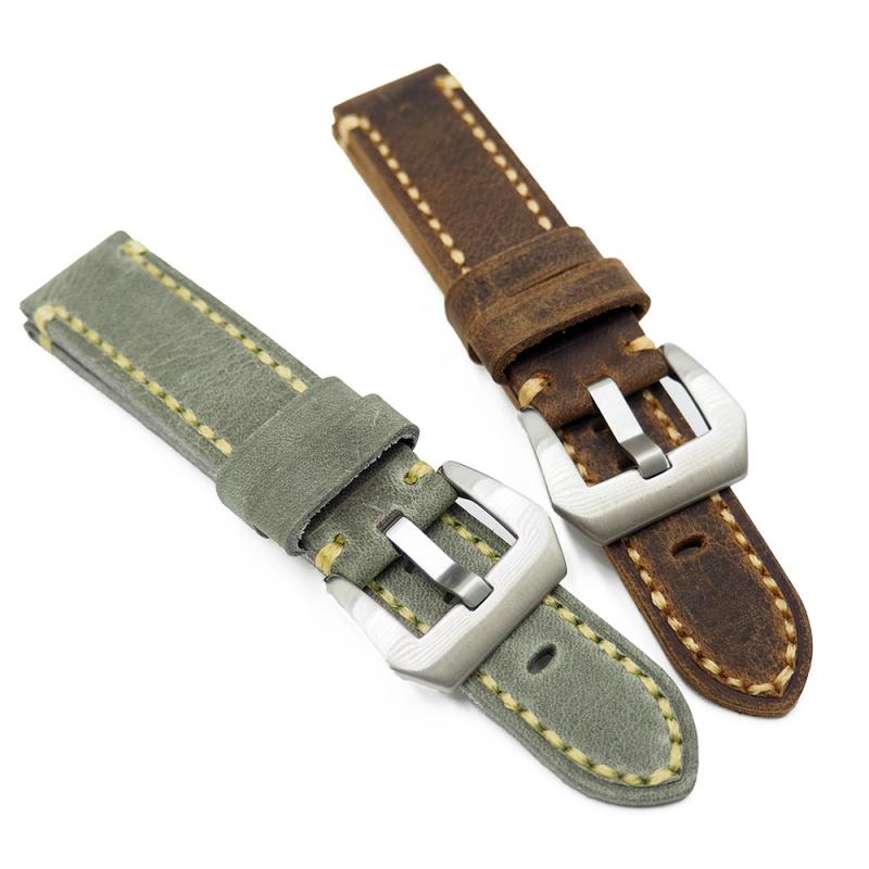 20mm, 22mm 磨砂牛皮錶帶, 棕橙色 / 灰綠色