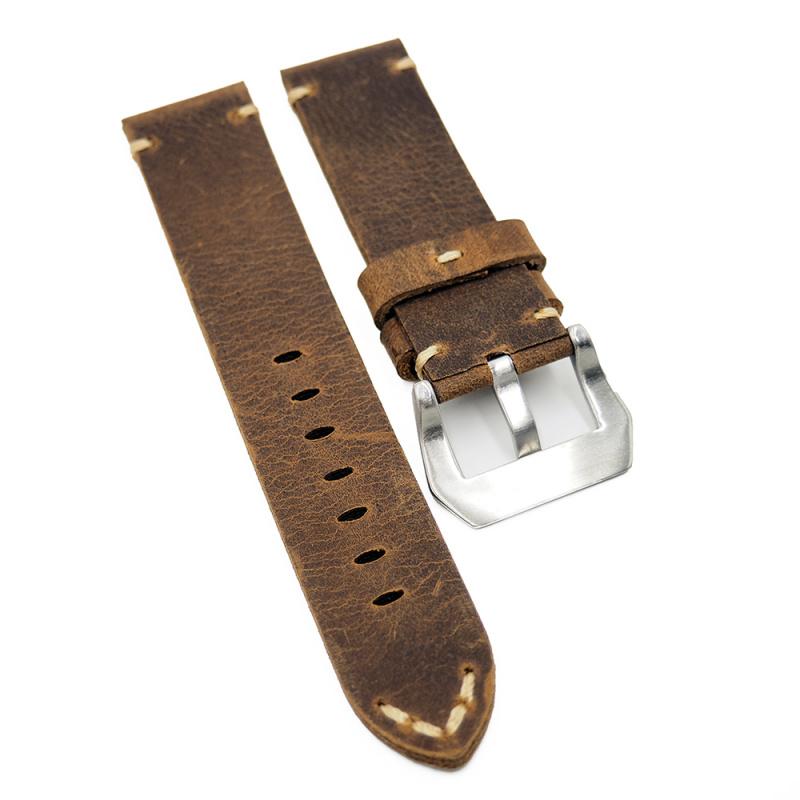 22mm 棕橙色牛皮復古錶帶, 切邊款