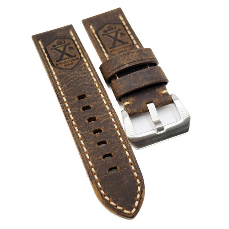 26mm 意大利棕啡色牛皮錶帶, 復古X字壓花, 切邊款