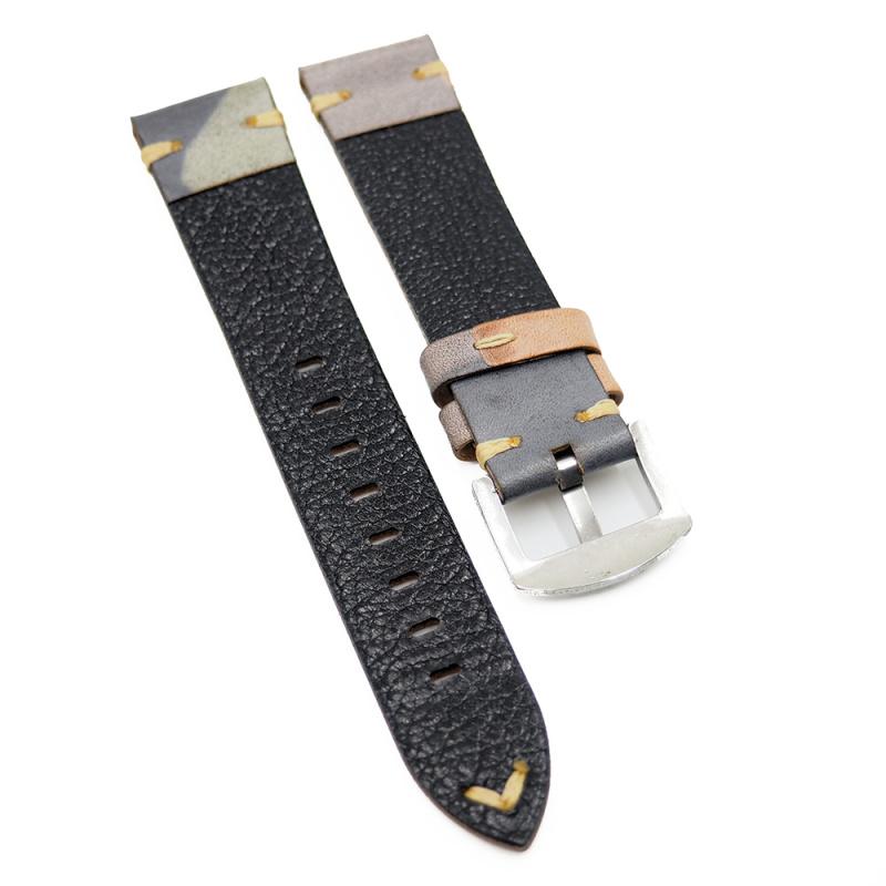 20mm 迷彩復古牛皮錶帶, 淡杏黃色迷彩 / 淺綠色迷彩
