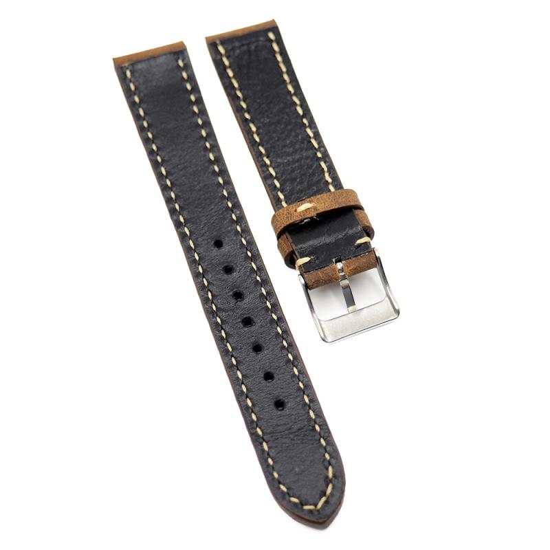 18mm, 19mm, 21mm 優質瘋馬皮(牛皮)錶帶, 棕紅色 / 棕色 / 棕黃色