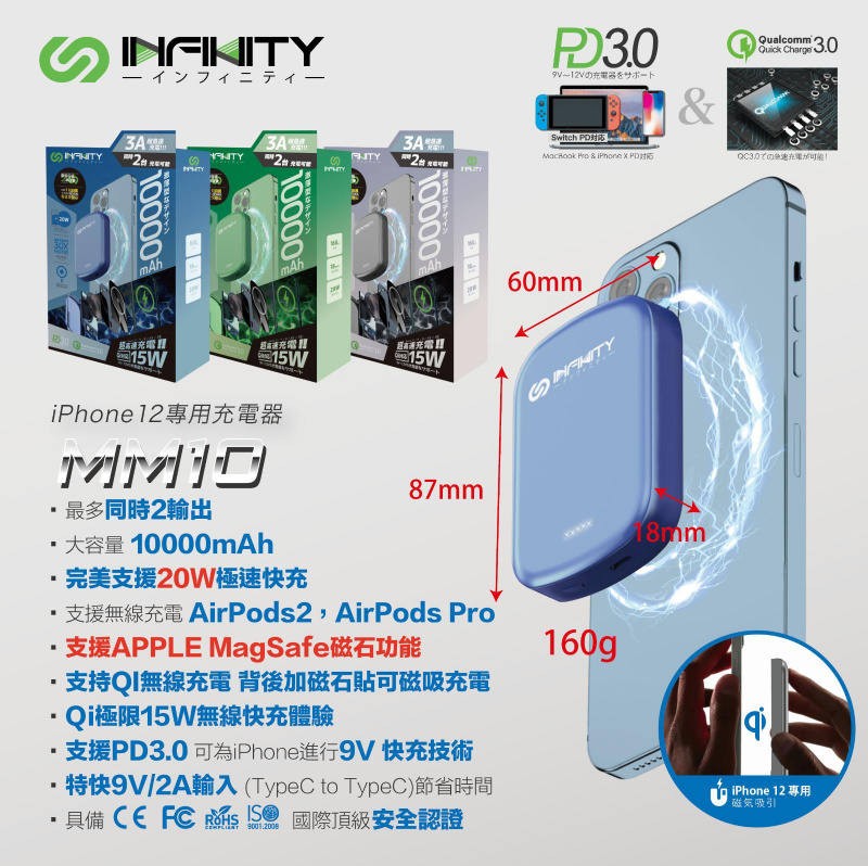 INFINITY MM10 MagSafe磁石充電器