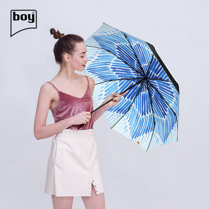 Boy BY3067 墨染三折防紫外線防潑水摺疊雨傘 [2款]