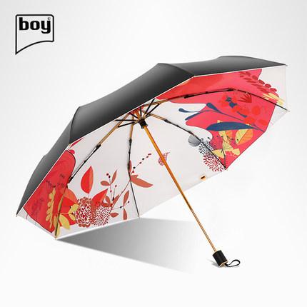 Boy BY3043 三折防紫外線防潑水摺疊雨傘-莉莉