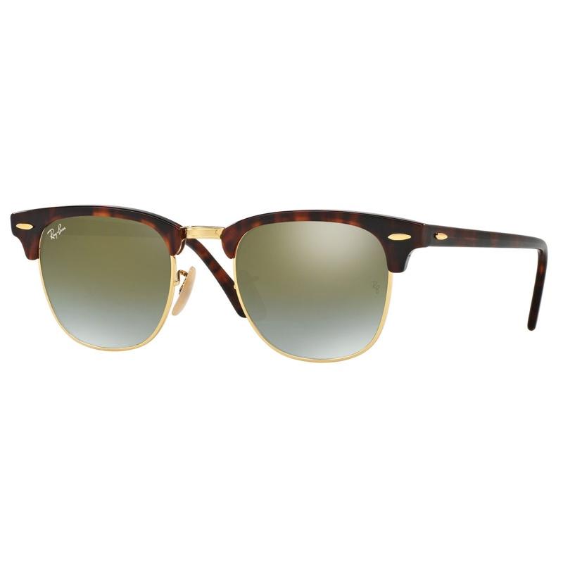 Ray-Ban RB3016 Clubmaster Flash Lenses Gradient 漸變綠色反光鏡片太陽眼鏡 | 990/9J 玳瑁啡色鏡框