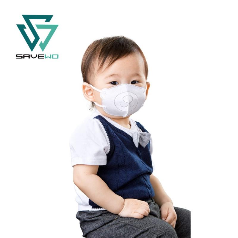 SAVEWO 3DBEAR 救世立體啤口罩 3色(白/藍/粉) (30片/盒 ,獨立包裝) (6-24月嬰幼兒適用)