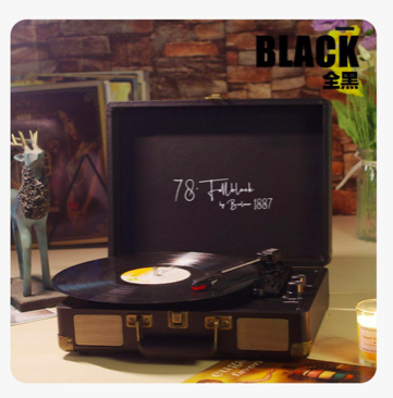 78 Fullblack By 1887 一體化黑膠碟播放機 RCA 3.5mm 33, 45, 78 RPM