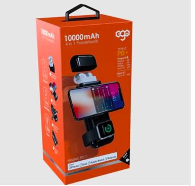 Ego - 蘋果專用 4合1 PD 10000mAh 行動電源無線充 Apple watch Airpod iphone Ipad