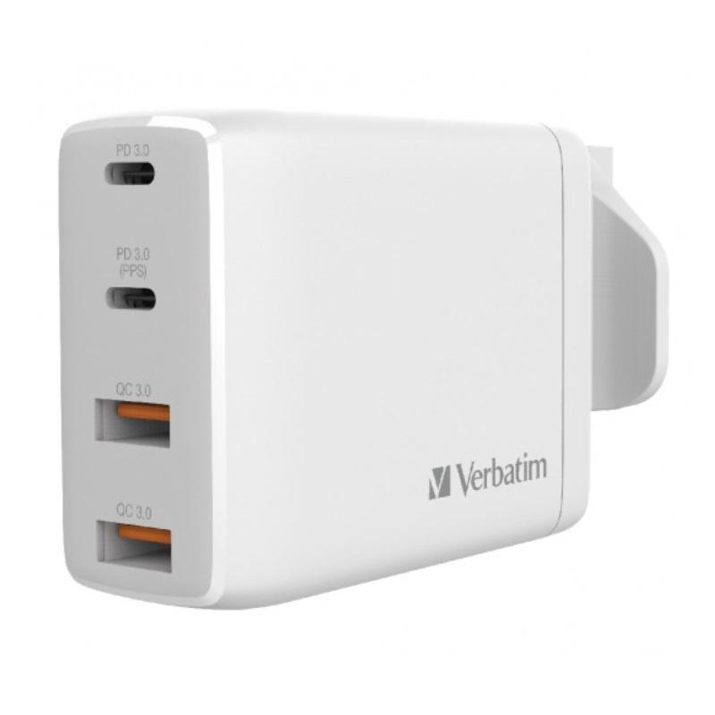 【香港行貨】Verbatim 100W 4 Ports 雙PD3.0 & 雙QC 3.0 GaN 牆充電器[充電器 電池]