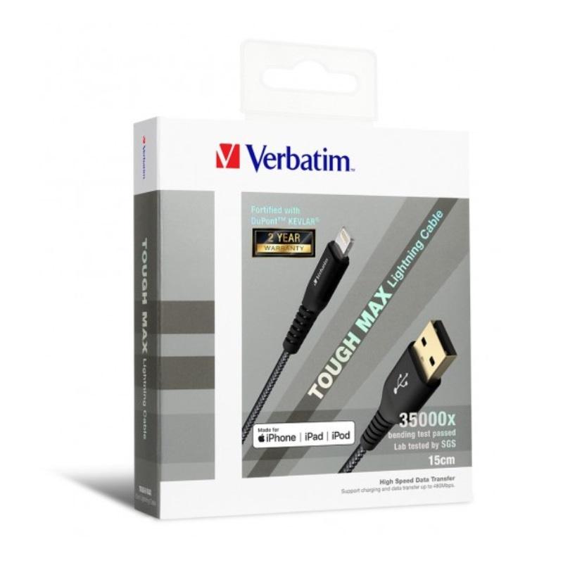 【香港行貨】Verbatim Sync & Charge Tough Max Lightning Cable 15cm - Black [手提電話線材]