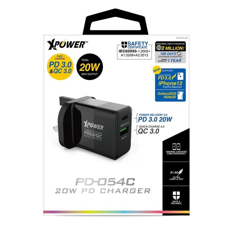 【香港行貨】XPower 20W PD 3.0/QC 3.0 充電器 PD-054C[充電器 電池]