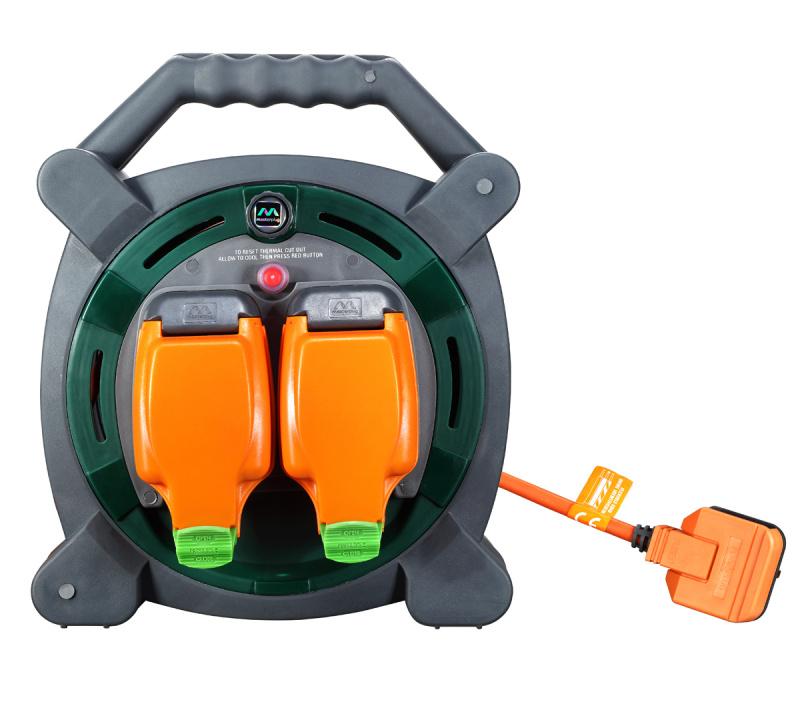英國Masterplug - 2X13A IP54 防水防塵插位 20米拖轆 橙灰色 HLP2013/2IP