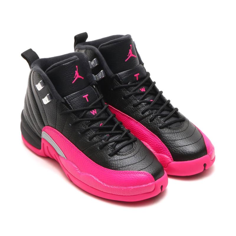 Nike Air Jordan 12 女裝鞋 [黑粉紅色]