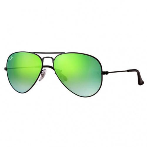 Ray-Ban RB3025 Aviator Flash Lenses Gradient 漸變綠色反光鏡片太陽眼鏡 | 002/4J 黑色鏡框