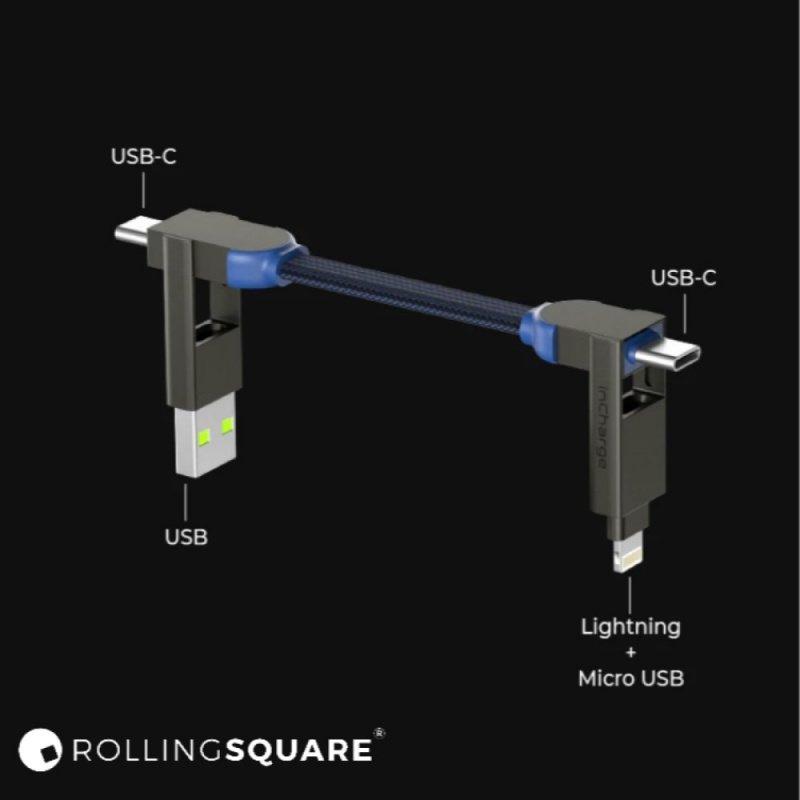 Rolling Square 新品 InChargeX 100W 6合1 快充數據線