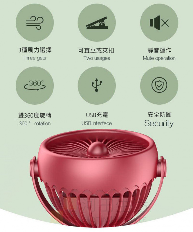 BB車風扇 嬰兒車 360度 夾扣 座枱 3級風力 USB充電 迷李風扇 便攜式 LED燈