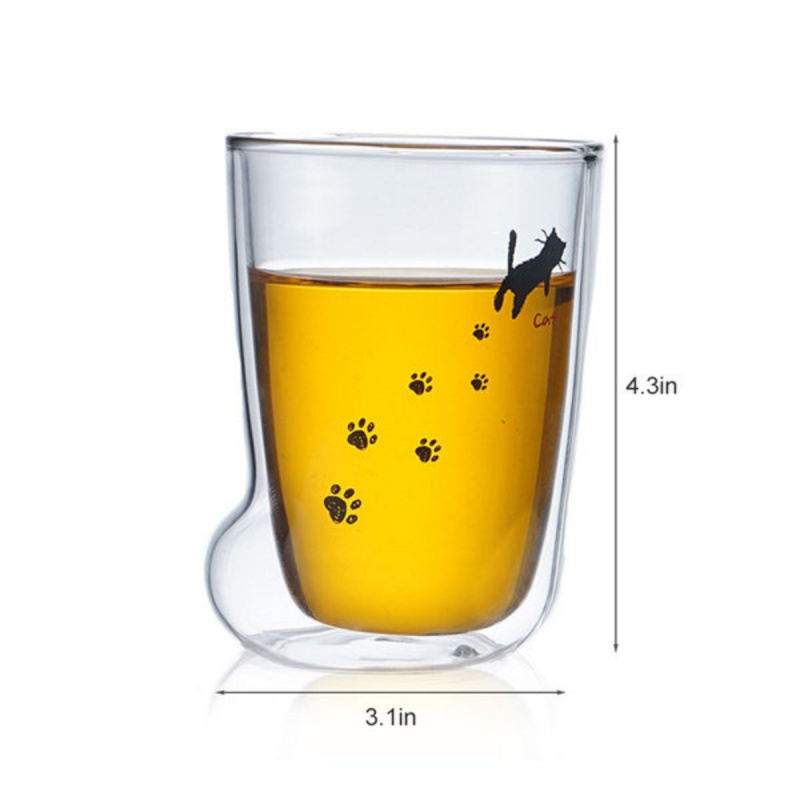 雙層玻璃杯 貓足杯 貓腳杯 貓爪水杯 卡通杯子家用飲品杯可愛貓咪玻璃杯