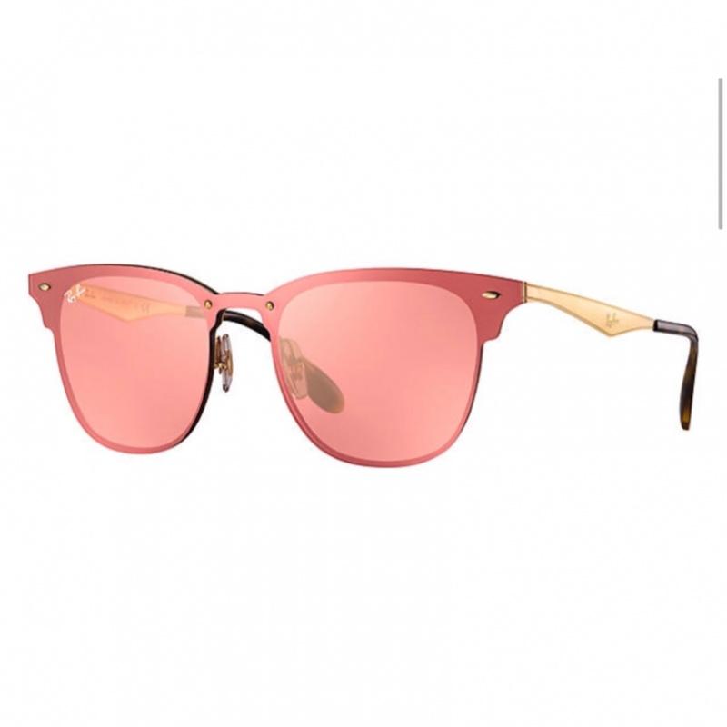 Ray-Ban RB3576N 043/E4 Blaze Clubmaster 太陽眼鏡 | 金色鏡框及粉紅色反光鏡片