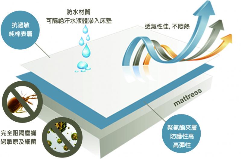 SafeRest 防水防蟎360度保護枕頭套 經典版 (一套2個)