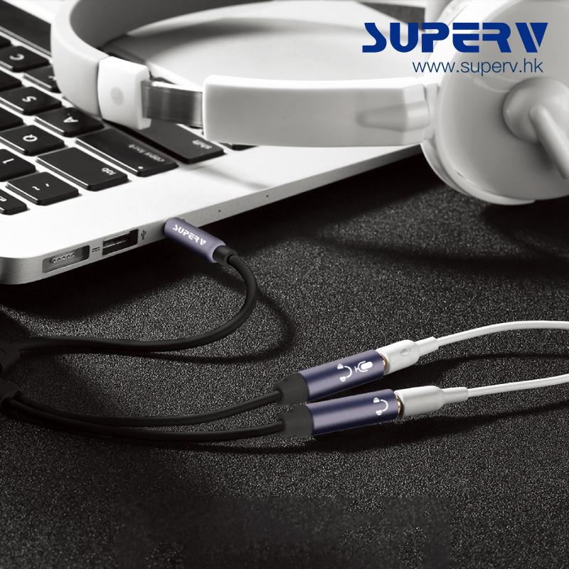 SuperV AY30 3.5mm TRRS Y型音訊轉接器音源線 (30cm)