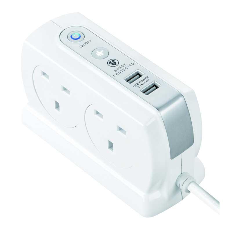 Masterplug SRGDSU43PW Compact 背靠背設計2位USB 3.1A及 4位X13A 3米防雷拖板 亮麗白色