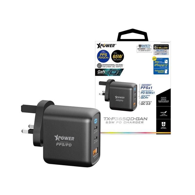 XPower TX-P365QD-GAN 65W PD 3.0/PPS/QC4+充電器