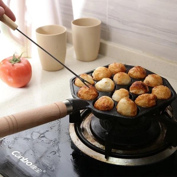 章魚小丸子迷你鑄鐵鍋(14孔) 生活品味   野營煮食   入廚樂趣   章魚燒  燒八爪魚丸   章魚丸