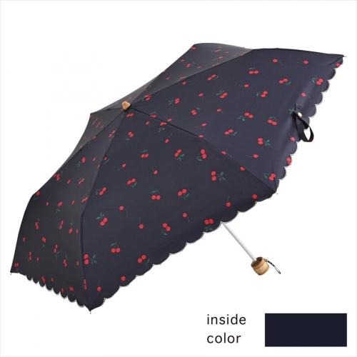 NIFTY COLORS 日本遮光櫻桃底紋碳輕量迷你雨傘(縮骨遮)