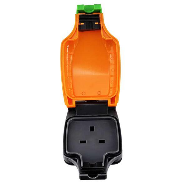 英國Masterplug - IP54防塵防水擴展拖板1位 橙灰色 IPS 戶外防風雨 13A