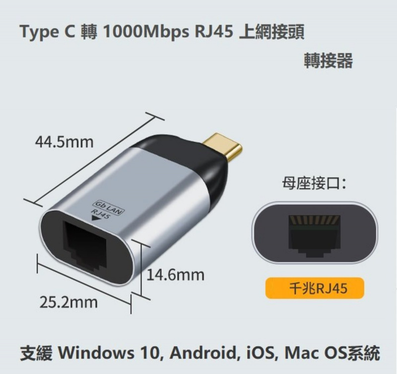 USB Type C 轉 乙太網 RJ45 1Gbps Ethernet LAN Adapter適配器MacBook Pro Air,Dell XPS Surface Pro 7