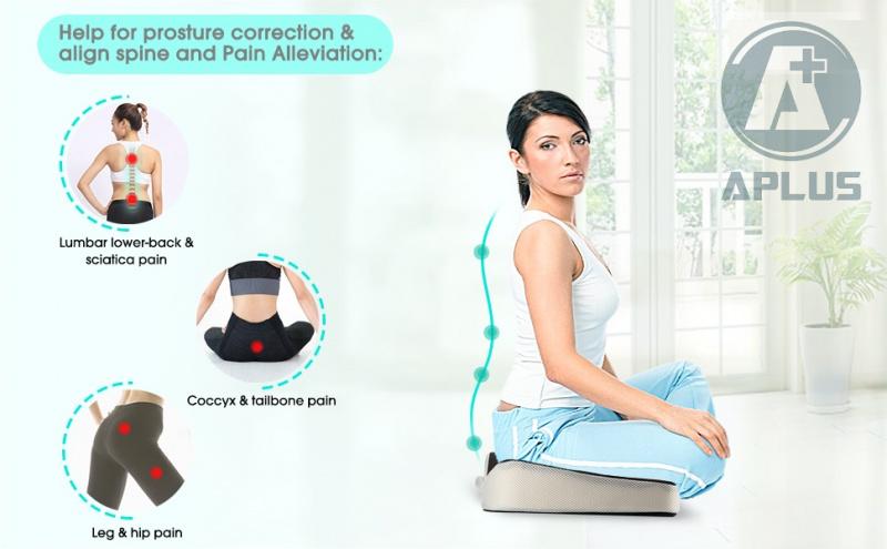 APLUS - 記憶棉坐墊枕 舒緩坐骨神經痛|尾龍骨|腰背酸痛|矯正坐姿|避免駝背
