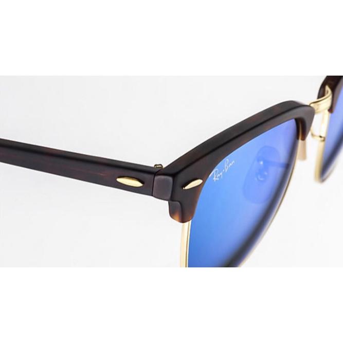 Ray-Ban RB3016 Clubmaster Flash Lenses 藍色反光鏡片太陽眼鏡 | 114517 玳瑁啡色鏡框