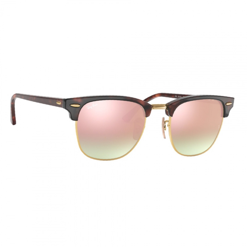 Ray-Ban RB3016 Clubmaster Flash Lenses Gradient 漸變粉色反光鏡片太陽眼鏡 | 990/7O 玳瑁啡色鏡框