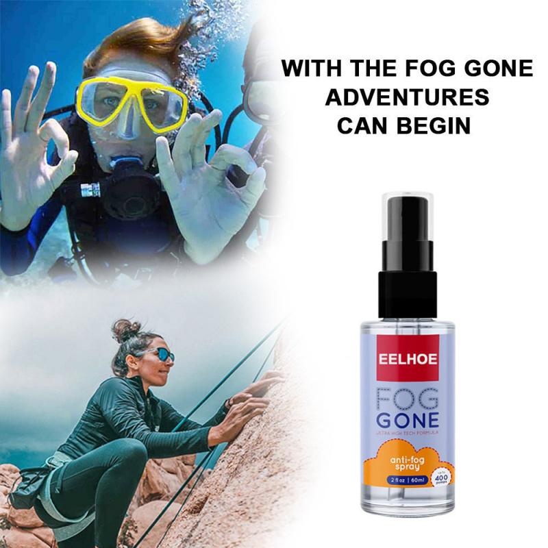 60ml 防霧噴霧 倒後鏡片和所有鏡片 眼鏡鏡子 游泳護目鏡 潛水鏡和滑雪面罩、玻璃塑膠窗 持久防霧