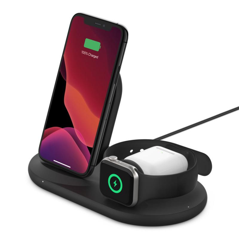 【香港行貨】Belkin BOOST↑CHARGE Apple 裝置專用 3 合 1 無線充電器[充電器 電池]