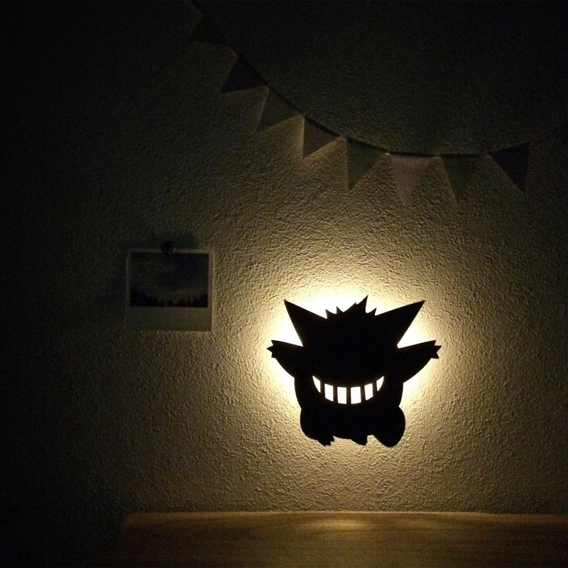 Pockmon 耿鬼感應式LED剪影壁燈