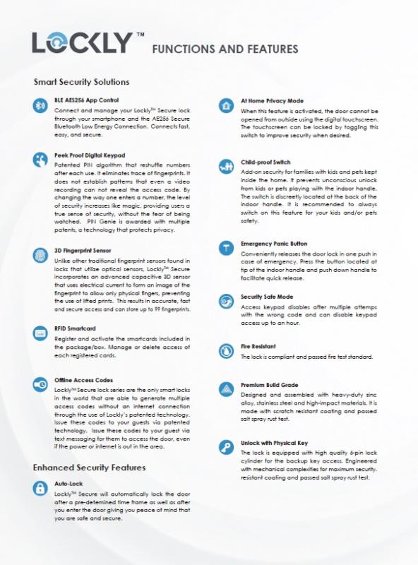 香港行貨 2年保用 Lockly Secure Lux Mortise Lock 智能門鎖 PGD829AF what App 65227066 LOCKLY® Secure Lux Mortise Lock (PGD829) PIN Genie® 專利防偷窺按鍵 + 3D指紋 + 藍牙 + RFID 智能卡 + 鎖匙LOCKLY® Secure Lux Mortise Lock