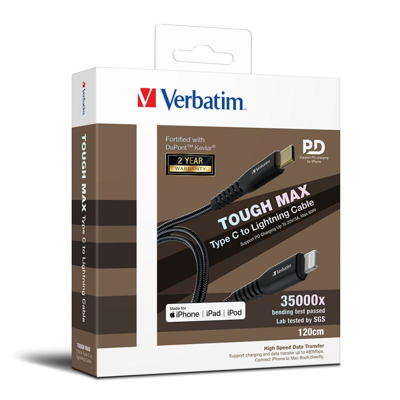 Verbatim Tough Max Type C to Lightning充電傳輸線 (Type-C to Lightning, 30cm 66046 / 120cm 66048 / 200cm 66051)