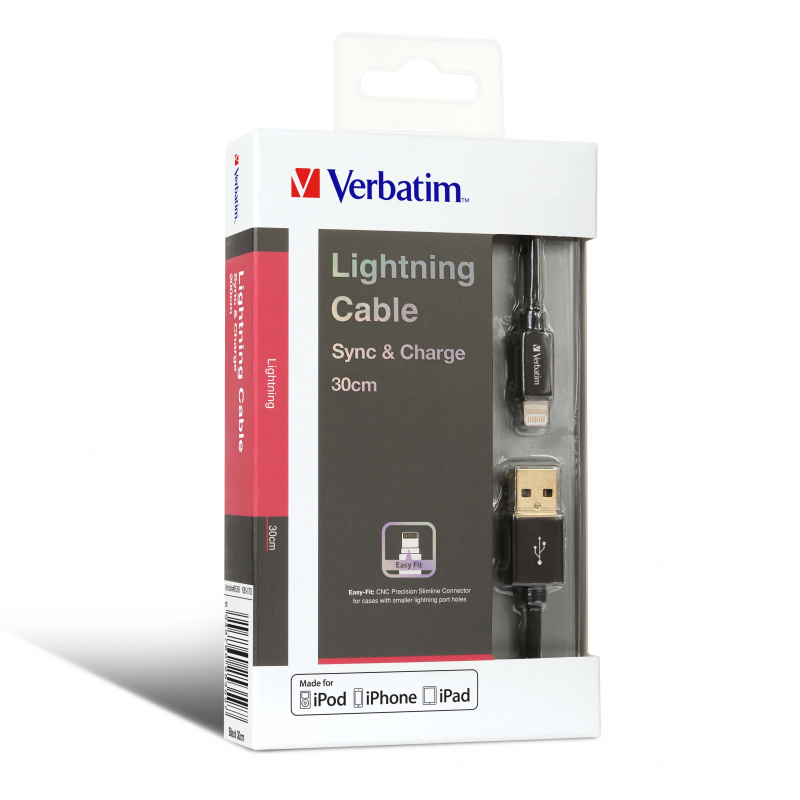 Verbatim Sync & Charge Step-up Lightning 充電傳輸線 (USB to Lightning, 30cm / 120cm / 200cm)