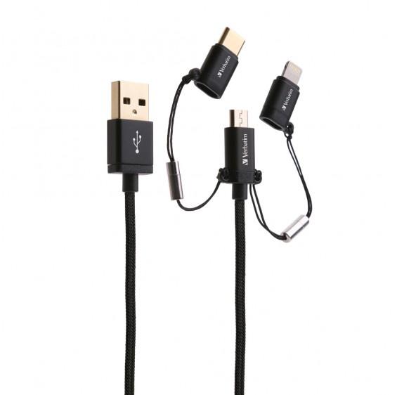 Verbatim MicroUSB, Lightning及Type C to USB-A 3合1充電傳輸線 65386