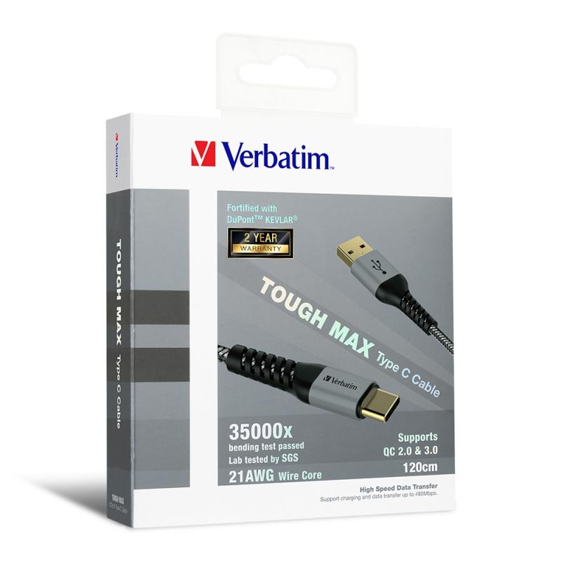 Verbatim Tough Max Type C to USB A 充電傳輸線 (30cm 66116 / 120cm 65989 / 200cm 66117)