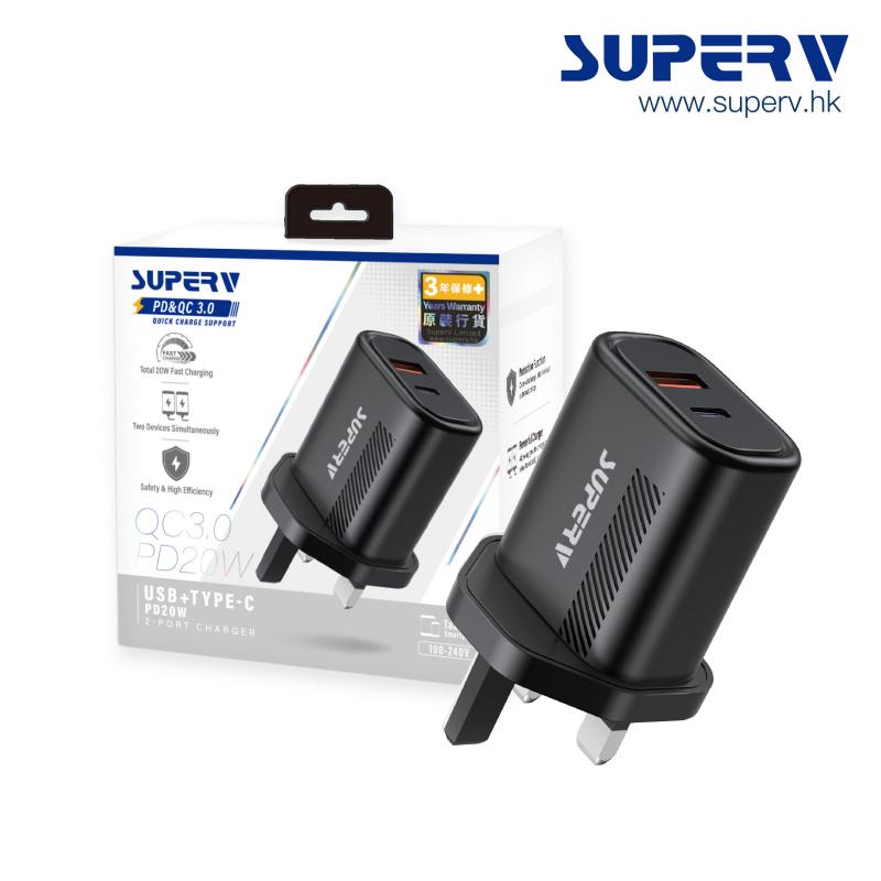 SuperV G82 USB QC3.0+Type-C PD20W雙輸出 快充充電器