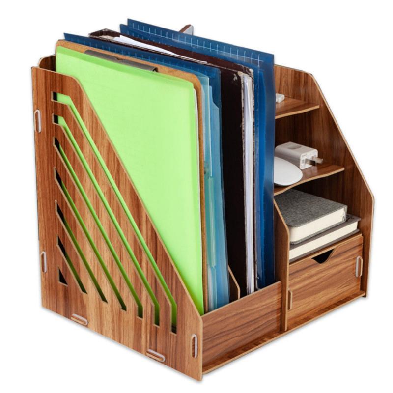 木制辦公桌文件架(自組)木色 2021款