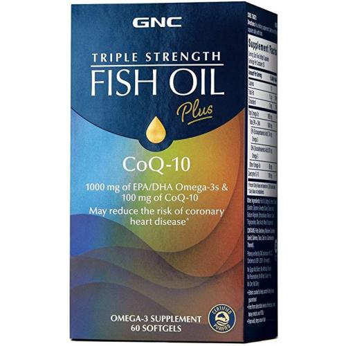GNC Triple Strength Fish Oil Plus CoQ-10 新配方三倍深海魚油輔酶Q10-100mg 60粒