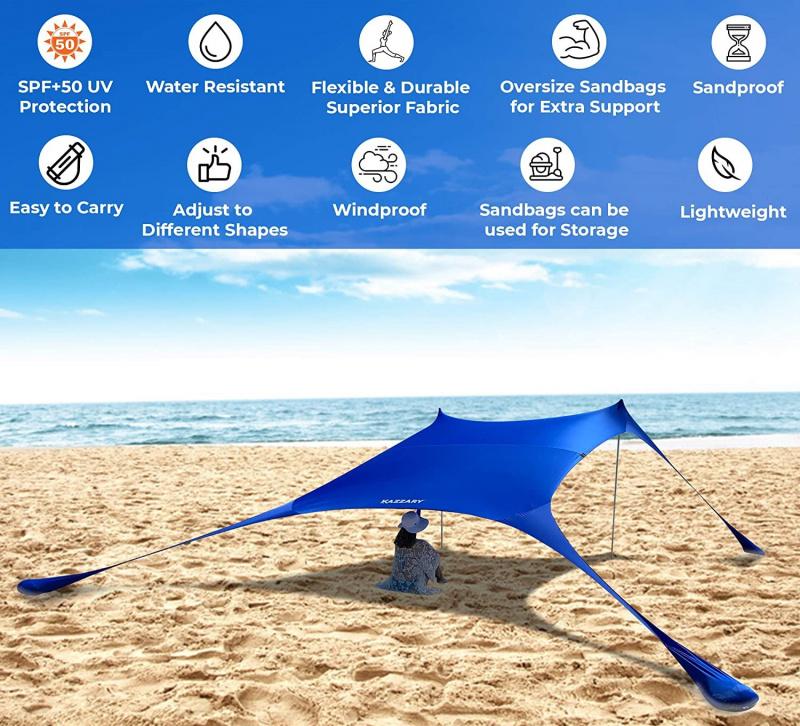 彈出式海灘帳篷遮陽罩 UPF50+ 附穩定桿 戶外遮陽篷 [7X7FT 4 桿] [淺藍色]