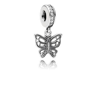 Pandora - Vintage butterfly pendant charm #791255CZ
