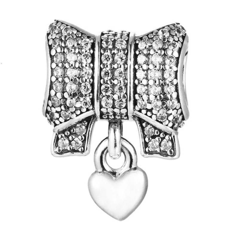 Pandora - Bow silver charm #791776CZ