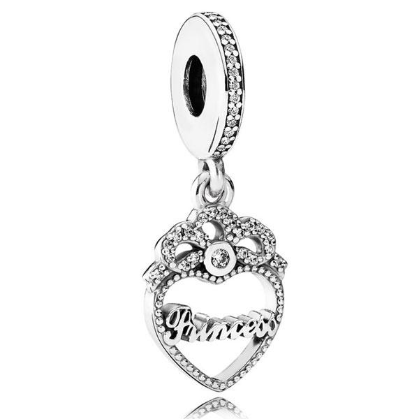 Pandora - Princess Crown Heart Pendant Charm #791962CZ