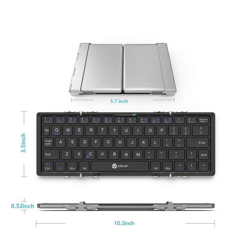 【香港行貨】iClever IC-BK03 銀色折疊藍牙鍵盤