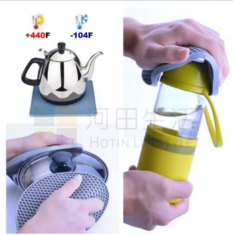 矽膠隔熱墊隔墊手套 防滑 手指夾套 保護 廚房炒鑊鍋具 煎蒸煮炒 硅膠(6件組合套裝 = 2件方墊 + 2件圓墊 + 2件手套 灰藍色)